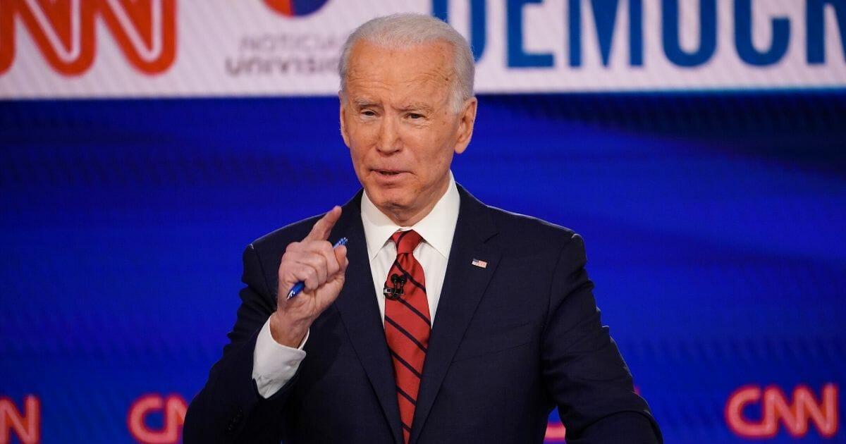 Former Vice President Joe Biden, pictured in a March 15 debate with Vermont Sen. Bernie Sanders.