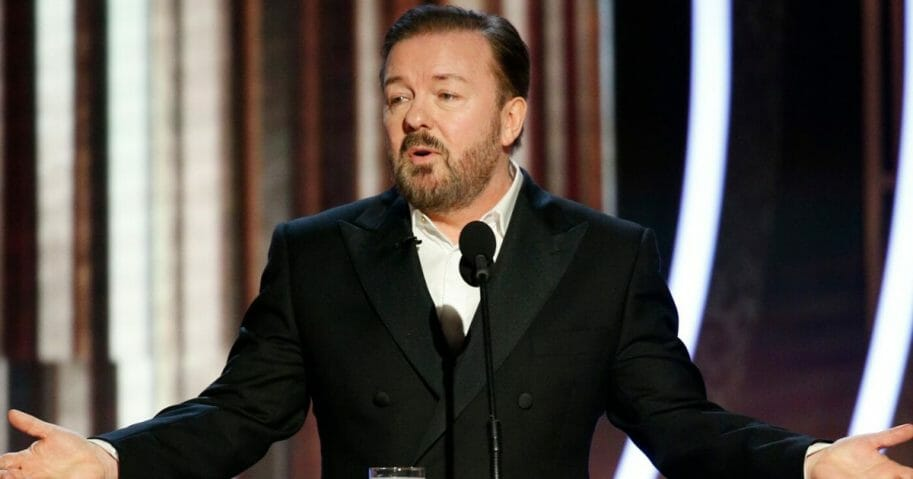 Comedian Ricky Gervais hosts the 77th Annual Golden Globe Awards at The Beverly Hilton Hotel on Jan. 5.