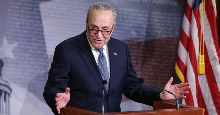 Senate Minority Leader Charles Schumer talks to reporters at the U.S. Capitol on April 21, 2020.