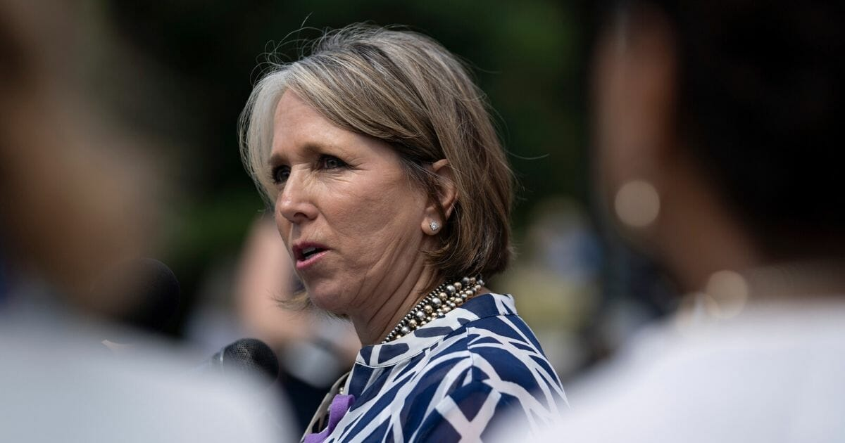 Democratic New Mexico Gov. Michelle Lujan Grisham, then a representative for the state's 1st Congressional District, speaks during a news conference on immigration outside the U.S. Capitol on June 13, 2018, in Washington, D.C.