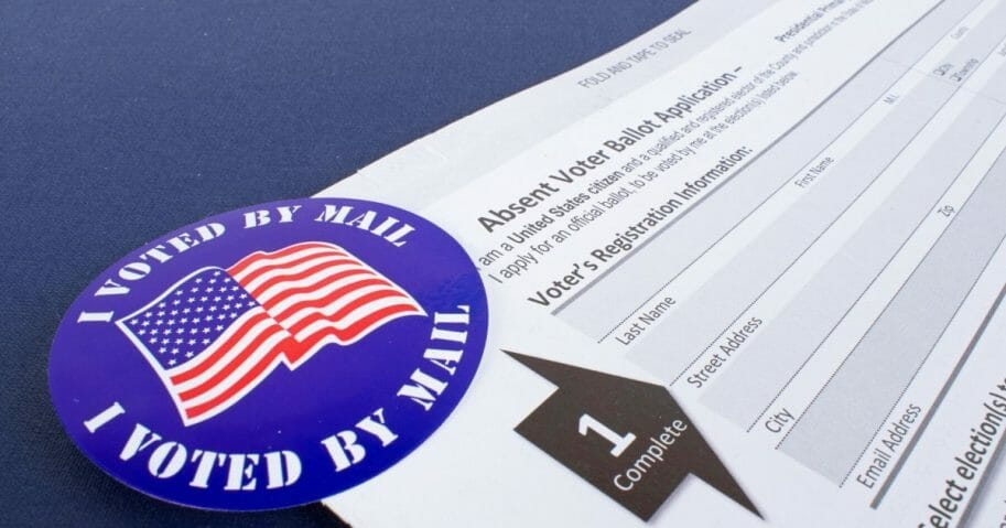 Stock image of an absentee voter ballot application.