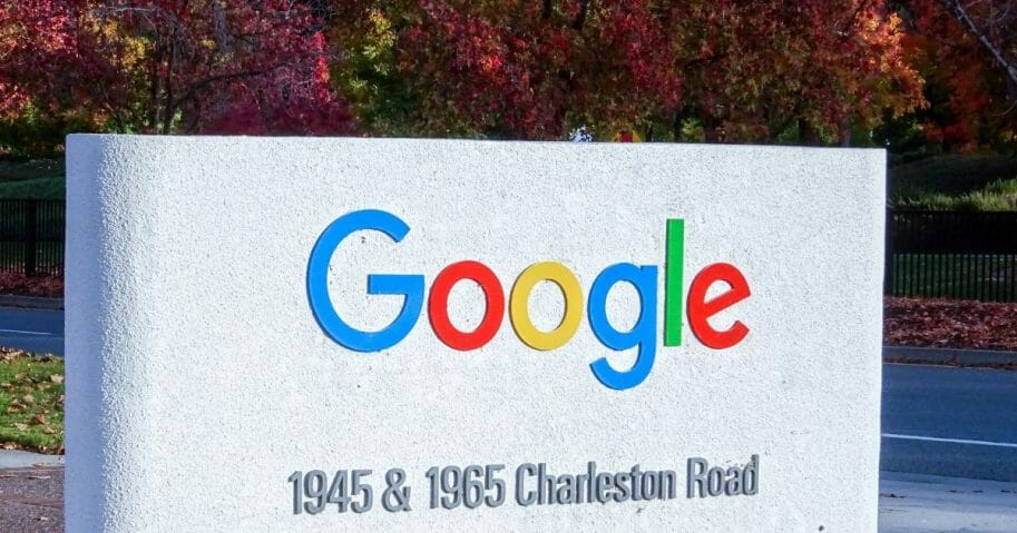 The Google logo pictured in the fall season on 1945 Charleston Rd, Mountain View, California.
