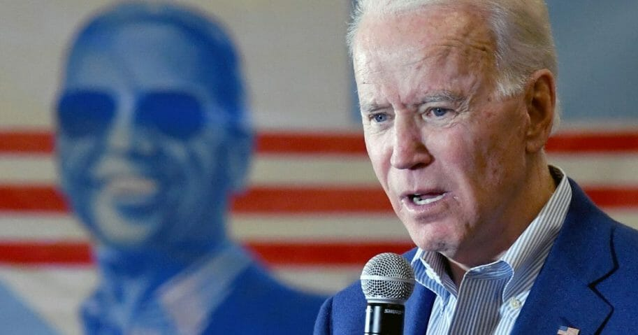 Former Vice President Joe Biden, currently the presumptive Democratic nominee for president, speaks during a community event at Hyde Park Middle School on Feb, 21, 2020, in Las Vegas.