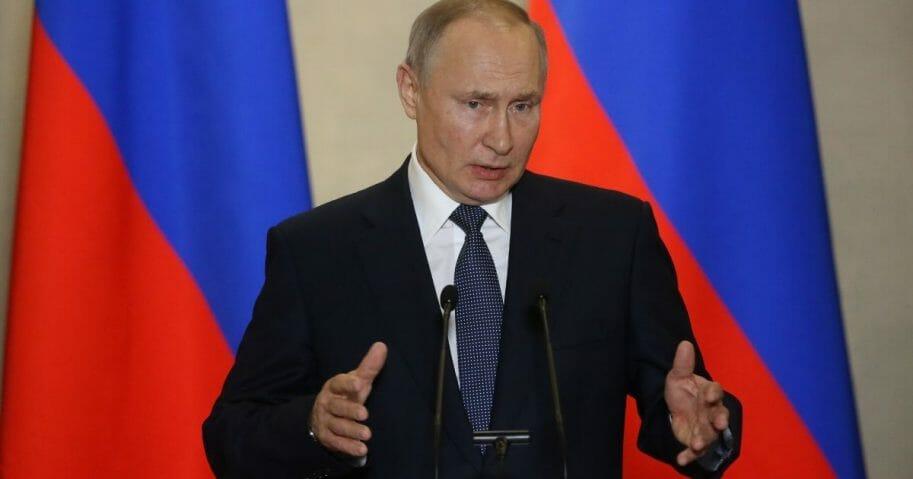 Russian President Vladimir Putin speaks on March 18, 2020, in Sevastopol, Crimea, Ukraine.