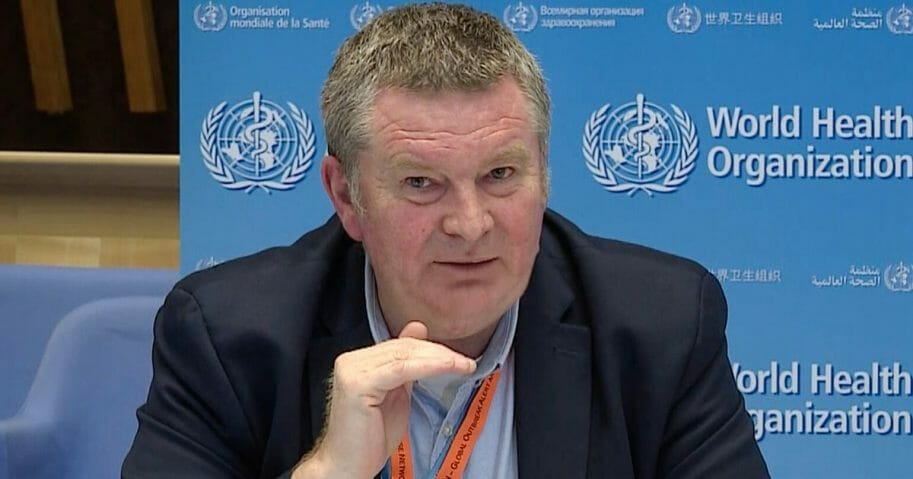 World Health Organization Health Emergencies Program Director Michael Ryan speaks via video link about the COVID-19 pandemic during a news conference from the WHO headquarters in Geneva on March 30, 2020.