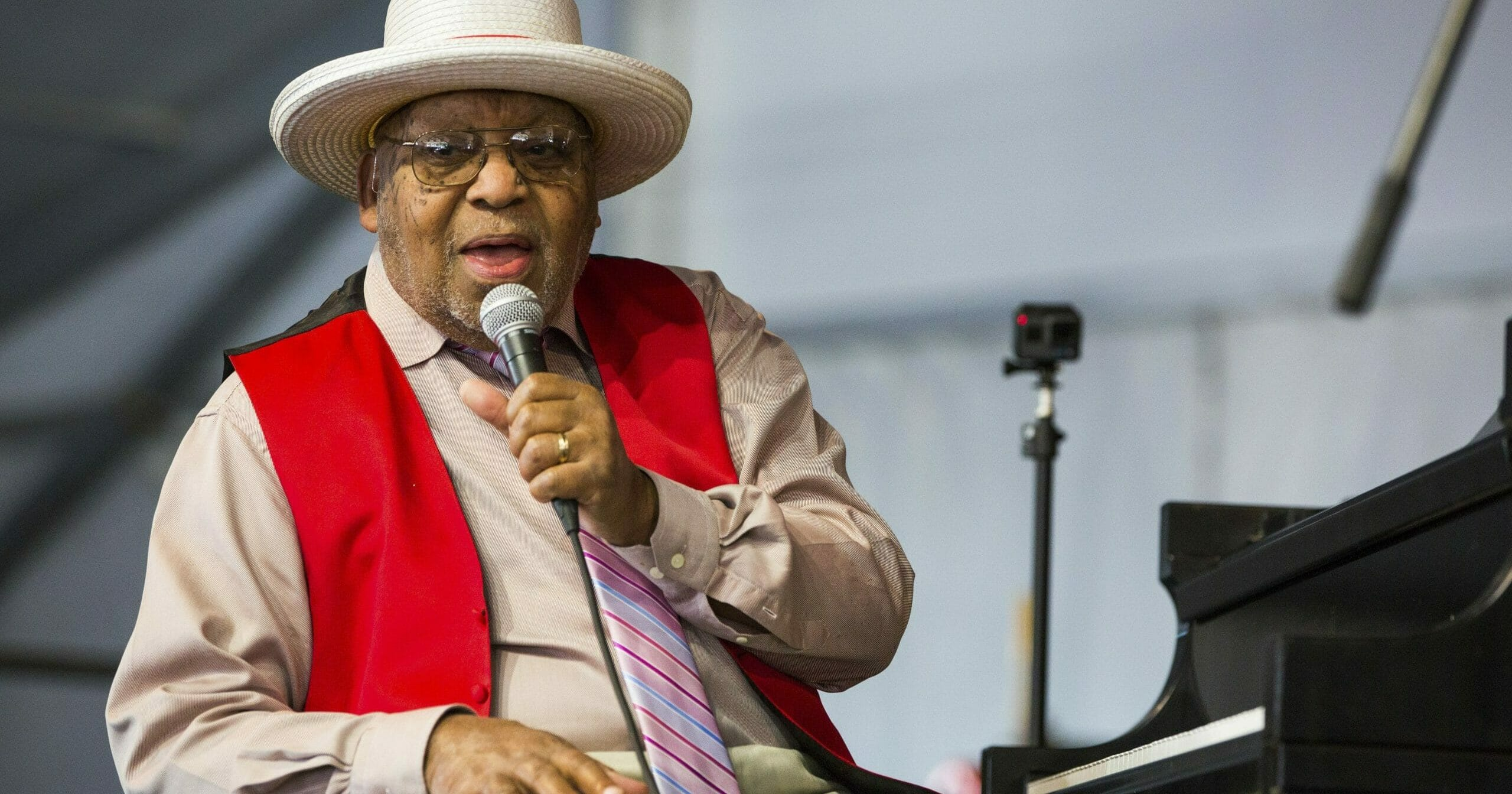 Ellis Marsalis is seen onstage April 28, 2019, during the New Orleans Jazz & Heritage Festival in New Orleans.