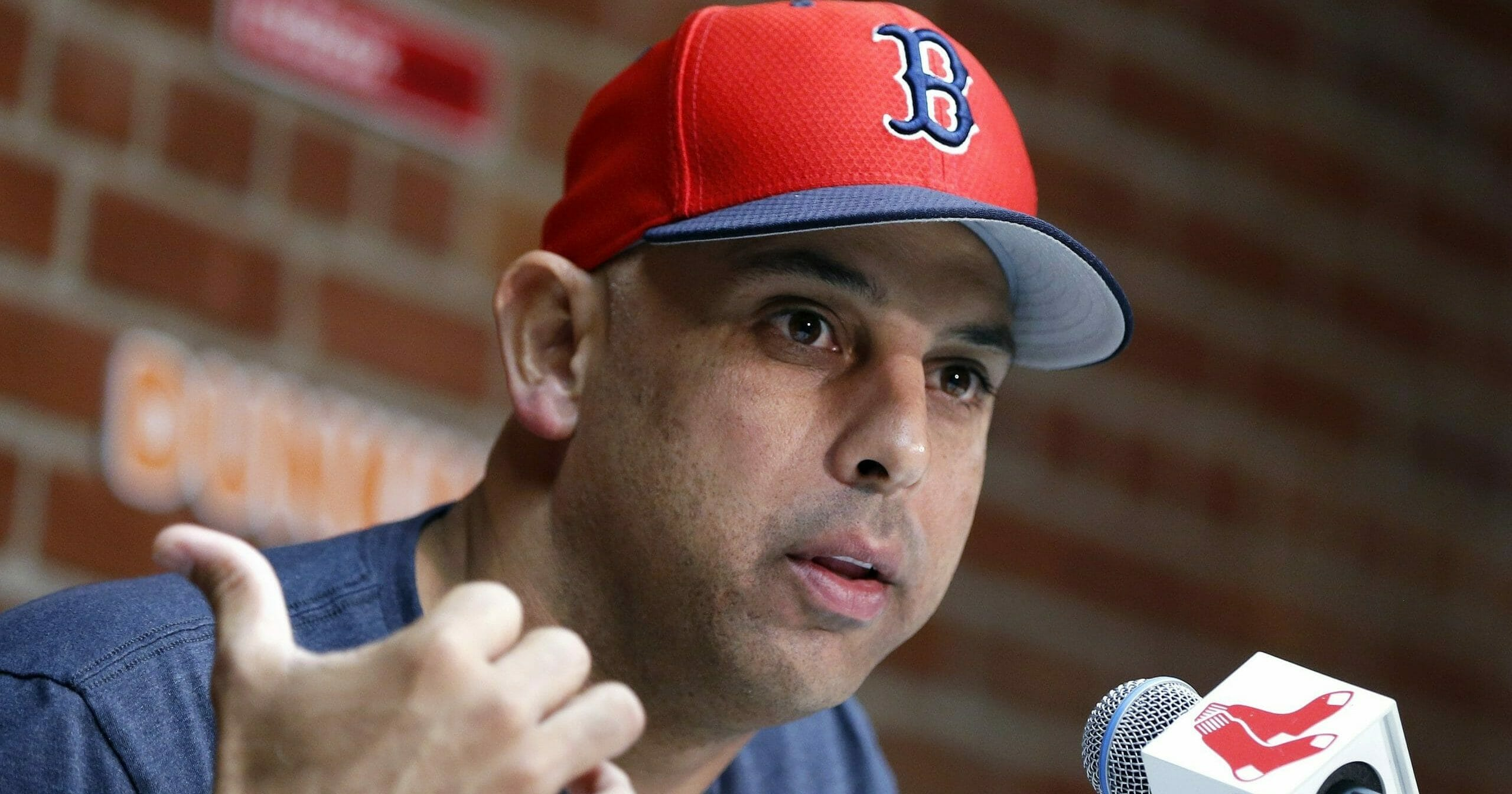 In this Sept. 9, 2019, file photo, Boston Red Sox manager Alex Cora talks about the dismissal of president of baseball operations Dave Dombrowski, during a news conference before the team's baseball game against the New York Yankees in Boston.