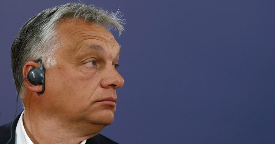 Hungarian Prime Minister Viktor Orban listens to a question during a news conference after a meeting with Serbian President Aleksandar Vucic in Belgrade, Serbia, on May 15, 2020.