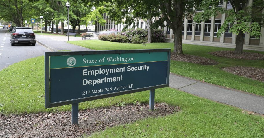 This photo shows a sign at the headquarters for Washington state's Employment Security Department Tuesday on May 26, 2020, at the Capitol in Olympia, Washington.