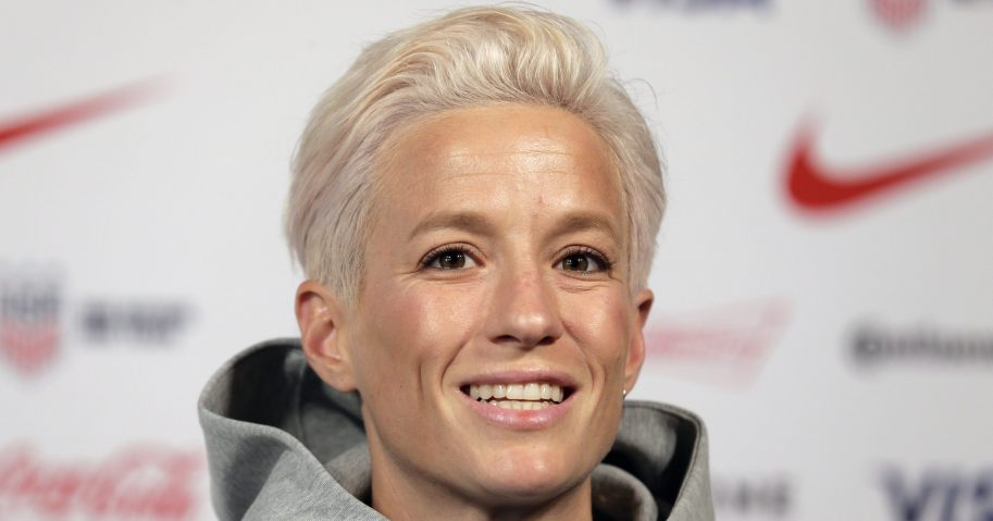 In this May 24, 2019, file photo, Megan Rapinoe, a member of the United States women's national soccer team, speaks to reporters during a news conference in New York.