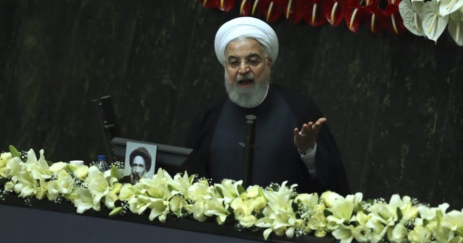 Iranian President Hassan Rouhani speaks during the inauguration of the new parliament in Tehran, Iran, on May, 27, 2020.