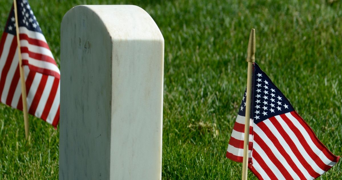 American flags decorate a gravesite