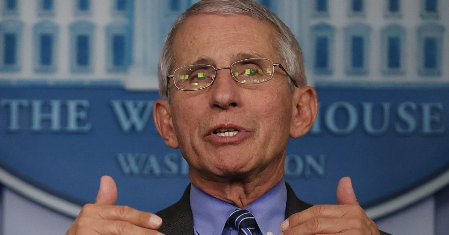 Dr. Anthony Fauci, director of the National Institute of Allergy and Infectious Diseases, speaks to reporters following a meeting of the coronavirus task force in the Brady Press BriefingRoom at the White House on April 6, 2020, in Washington, D.C.