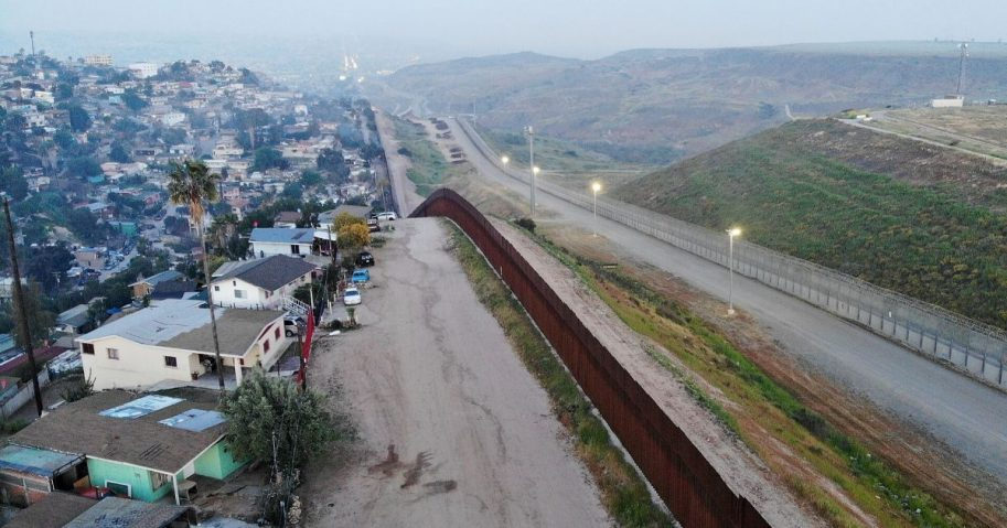An aerial view of the wall on the U.S. border with Tijuana, Mexico, on April 2, 2019.