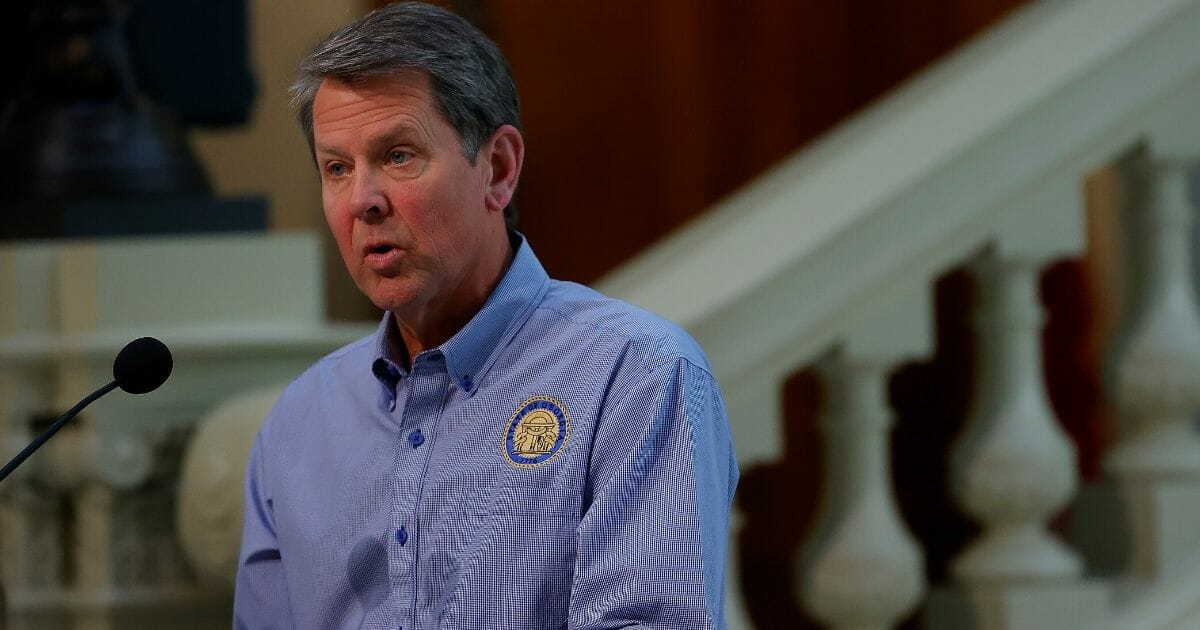Georgia Gov. Brian Kemp speaks to the media during a news conference at the Georgia State Capitol on April 27, 2020, in Atlanta, Georgia.