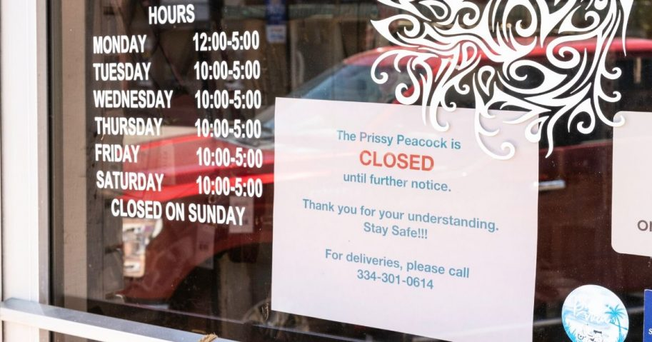 A closed sign is seen on a small business in downtown Prattville, Alabama, on April 15, 2020.