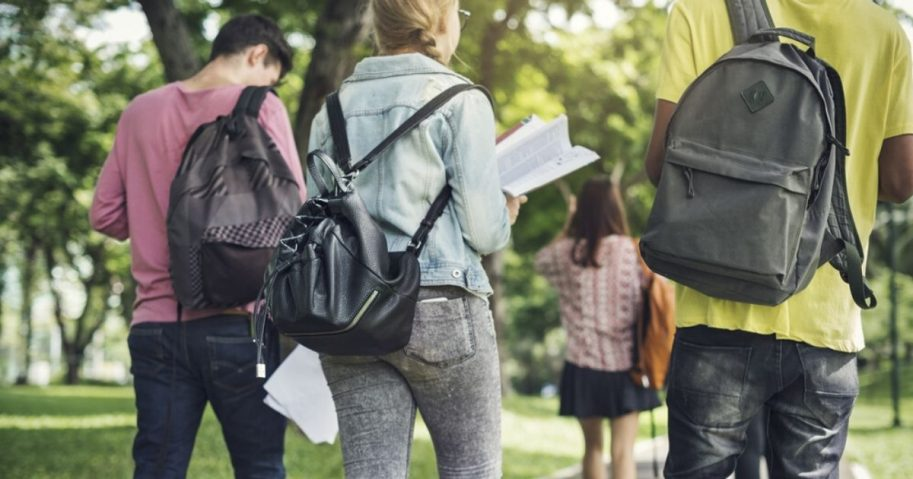 College students walk on campus in the stock photo above.