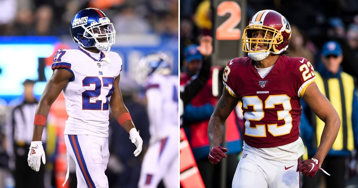Police in Miramar, Florida, have issue arrest warrants for Giants cornerback Deandre Baker, left, and Redskins cornerback Quinton Dunbar, right, in connection with an armed robbery that took place late Wednesday.