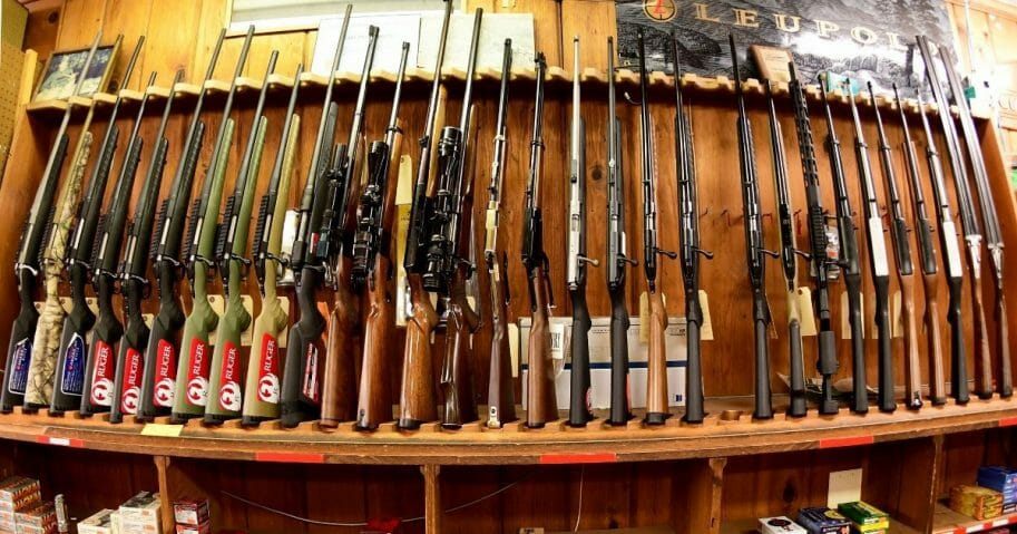Various rifles are on display at Clark Brothers gun store in Warrenton, Virginia, on Jan. 16, 2020.
