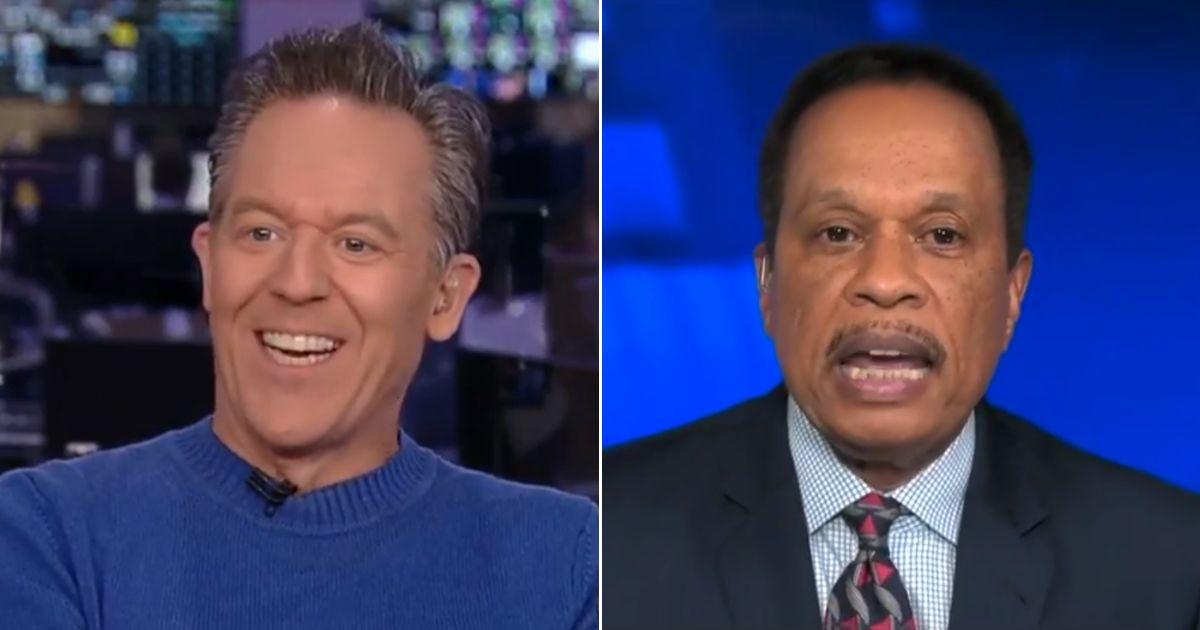 "Greg Gutfeld, left, and Juan Williams debate on Fox News' ""The Five."""
