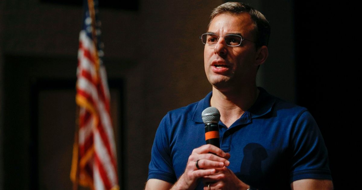 Rep. Justin Amash holds a town hall meeting on May 28, 2019, in Grand Rapids, Michigan.