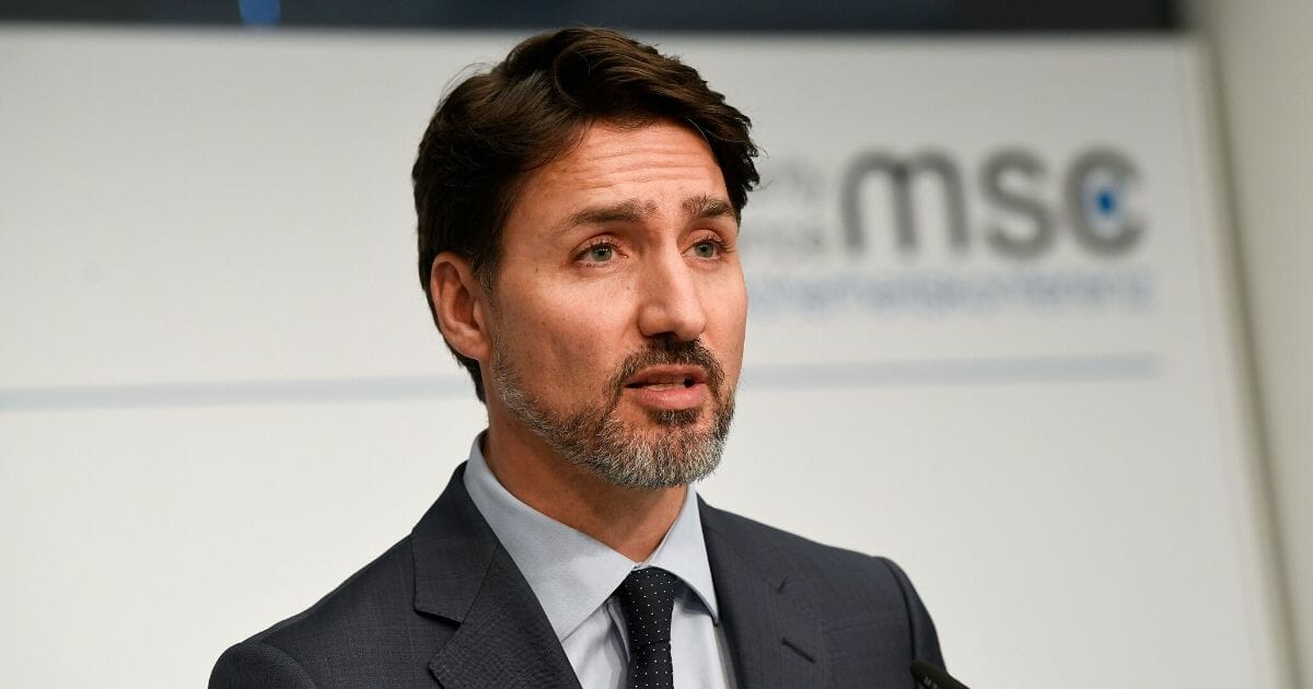 Canadian Prime Minister Justin Trudeau addresses a news conference at the 56th Munich Security Conference in Munich, southern Germany, on Feb. 14, 2020.