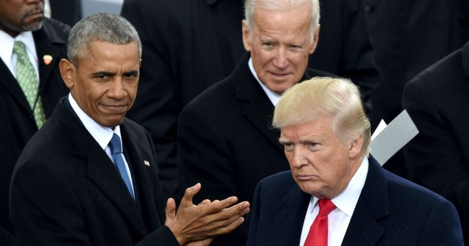 Former President Barack Obama and former Vice President Joe Biden applaud during President Donald Trump's inauguration ceremonies at the Capitol in Washington on Jan. 20, 2017