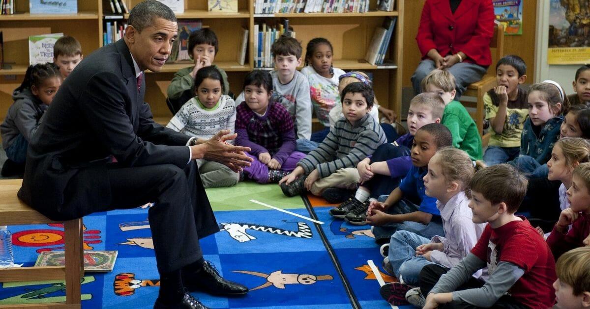 President Barack Obama talks with students at Long Branch Elementary School in Arlington, Virginia, on Dec. 17, 2010.