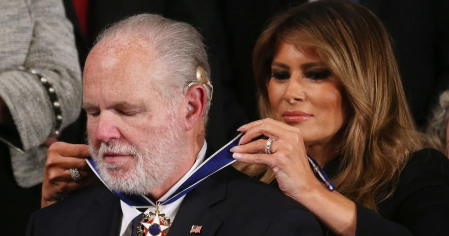 Radio personality Rush Limbaugh reacts as first lady Melania Trump gives him the Presidential Medal of Freedom during the State of the Union address in the chamber of the U.S. House of Representatives on Feb. 4, 2020, in Washington, D.C.