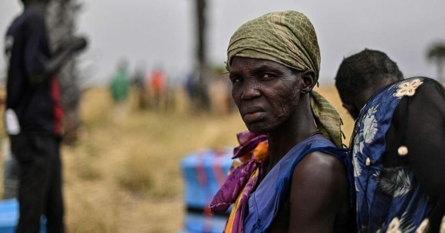 a South Sudanese villager takes a break
