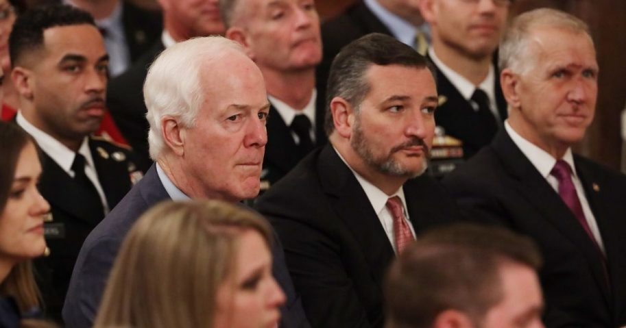 Senate Majority Whip John Cornyn, Sen. Ted Cruz and Sen. Thom Tillis