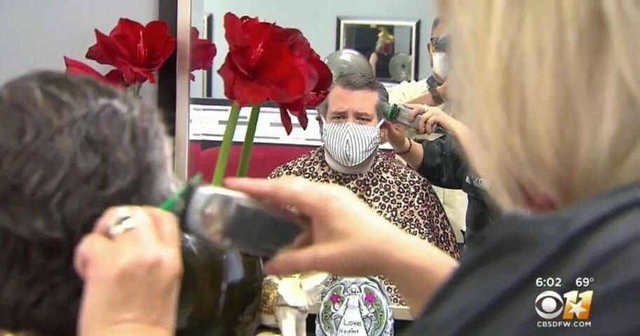 Texas Sen. Ted Cruz gets his hair cut