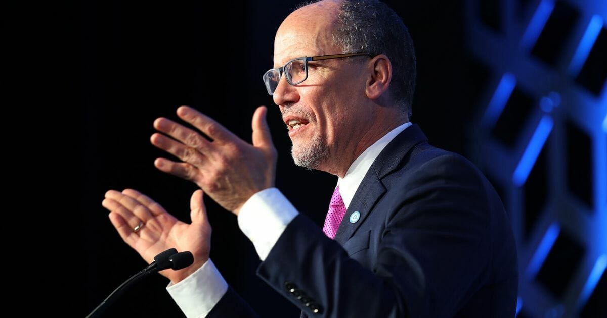 Tom Perez, Democratic National Committee chairman, speaks on Feb. 29, 2020, in Charlotte, North Carolina.