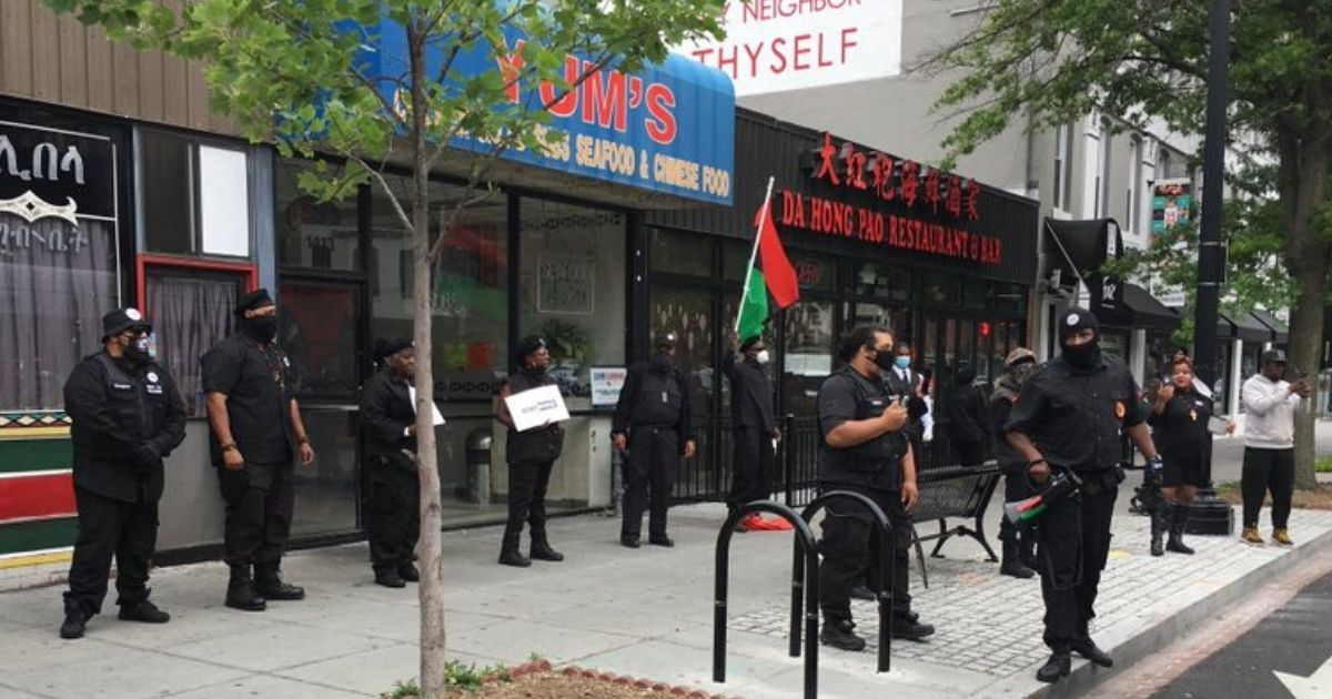 The New Black Panther Party pickets a Washington, D.C. restaurant.