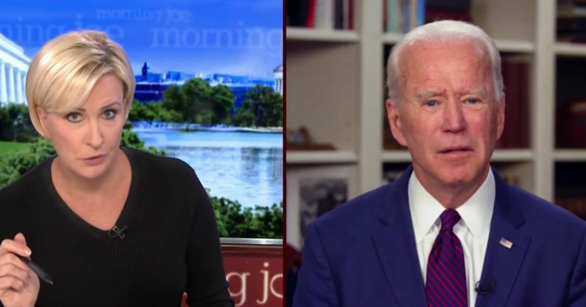 "Mika Brzezinski questions former Vice President Joe Biden regarding a sexual assault allegation against him on MSNBC's ""Morning Joe."""