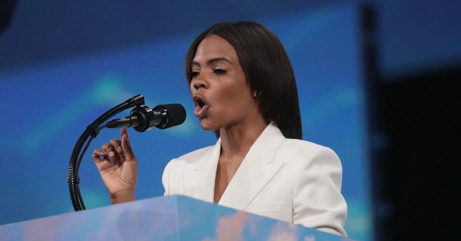 Conservative activist Candace Owens speaks to guests during the NRA-ILA Leadership Forum at the 148th NRA Annual Meetings & Exhibits on April 26, 2019, in Indianapolis.