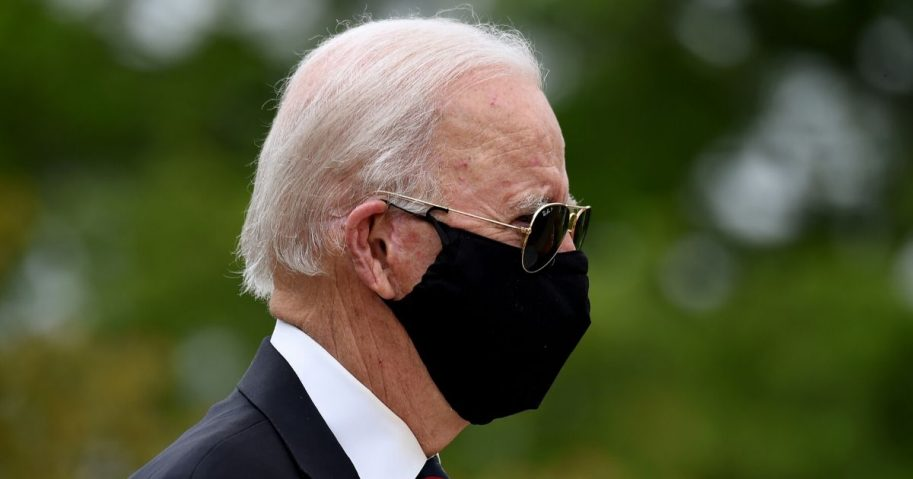 Former Vice President Joe Biden, the presumptive Democratic presidential nominee, arrives to pay his respects to fallen service members on Memorial Day at Delaware Memorial Bridge Veteran's Memorial Park in Newcastle, Delaware, on May 25, 2020.