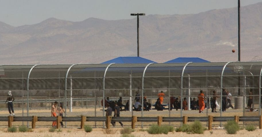 Imprisoned immigrants are seen at the Immigration and Customs Enforcement Adelanto Detention Facility on Sept. 6, 2016, in Adelanto, California.