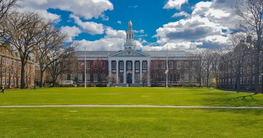 The north facade of the Baker Library / Bloomberg Center building at the Harvard Business School.
