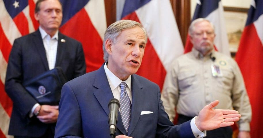 Texas Gov. Greg Abbott speaks at a news conference at the Texas State Capitol in Austin on March 29, 2020.