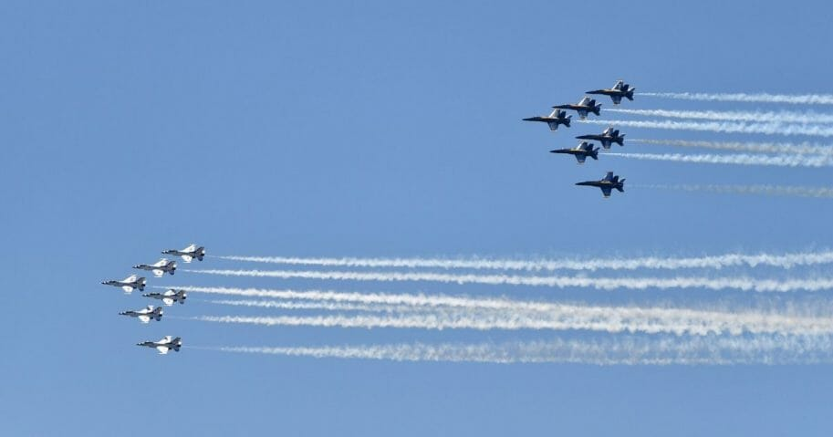 U.S. Air Force Thunderbirds and U.S. Navy Blue Angels perform a flyover tribute during the COVID-19 pandemic on May 2, 2020, in Atlanta.