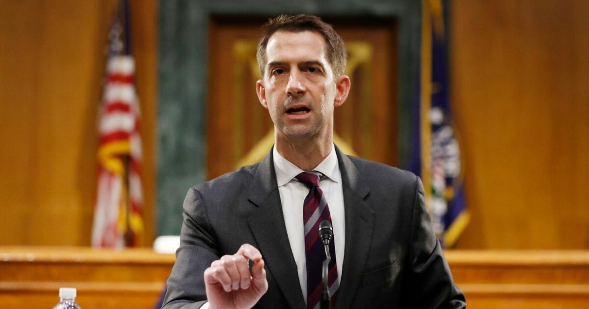 Republican Sen. Tom Cotton of Arkansas speaks during a Senate Intelligence Committee nomination hearing for Rep. John Ratcliffe of Texas for the position of director of national intelligence on Capitol Hill on May. 5, 2020.
