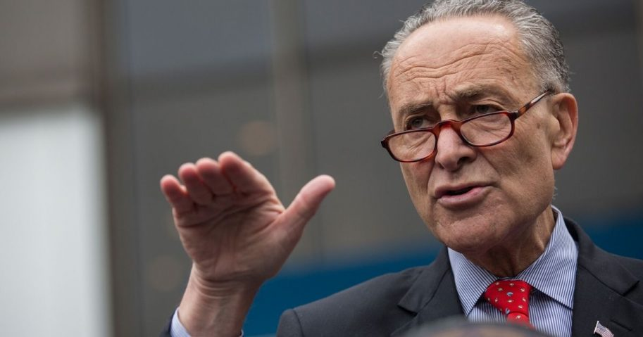 Senate Minority Leader Charles Schumer speaks at a news conference outside New York Penn Station on May 15, 2015, in New York City.