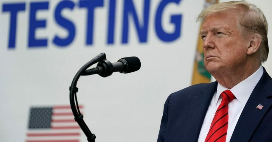 President Donald Trump listens to questions during a media briefing about coronavirus testing in the Rose Garden of the White House on May 11, 2020, in Washington, D.C.
