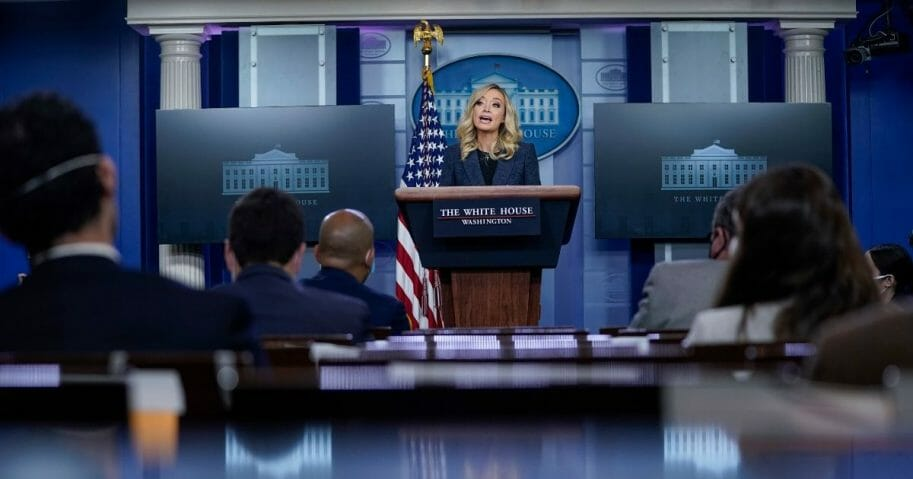 White House Press Secretary Kayleigh McEnany speaks during a media briefing at the White House on May 12, 2020, in Washington, D.C.