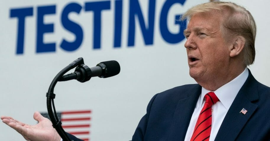 President Donald Trump speaks during a media briefing about coronavirus testing in the Rose Garden of the White House on May 11, 2020, in Washington, D.C.