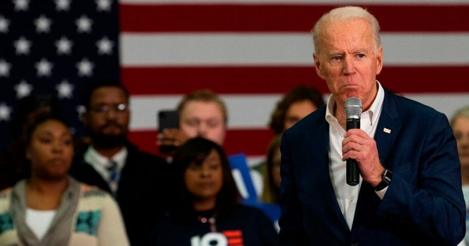 Former Vice President Joe Biden, now the presumptive Democratic presidential nominee, speaks at a town hall event in Charleston, South Carolina on Feb. 24, 2020.