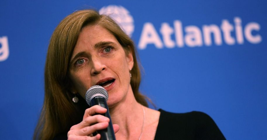 """Then-U.S. Ambassador to the United Nations Samantha Power speaks during a discussion at the Atlantic Council on """"The Future of U.S.-Russia Relations"""" on Jan. 17, 2017, in Washington, D.C."""