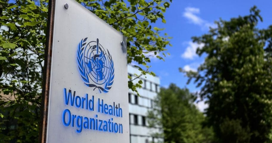 The World Health Organization's headquarters in Geneva is seen April 24, 2020.