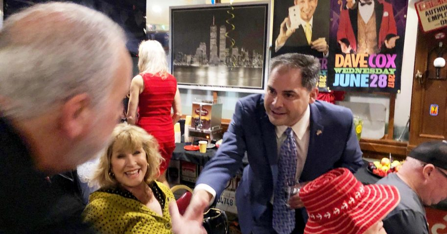 In this Jan. 28, 2020, file photo, former Navy combat pilot Mike Garcia greets supporters in Simi Valley, California. Long-suffering California Republicans see hope for November after Garcia's special election victory in the 25th District.